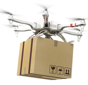Delivery concept - Drone multi copter carrying carton box